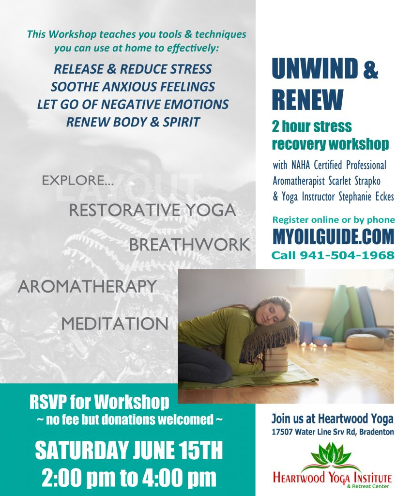 Stress Recovery Workshop June 15th at Heartwood Yoga